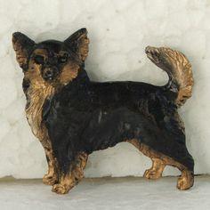 Chihuahua Longhaired Black Tan Brooch Dog Breed Jewellery Handpainted Resin
