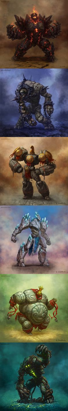 Golems by Maria Trepalina: interesting visual concept of strong or large spirits