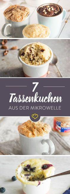 Wenn der kleine Kuchenhunger kommt, dann sind diese schnellen Tassenkuchen genau das Richtige für dich - mit Schokolade oder Nüssen. Und aus der Mikrowelle.