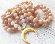 Cosmic Radiance Mala Beads Moonstone & Sunstone Mala Beads Moonstone Mala Necklace Gold Moon Necklace Moonstone Moon Necklace Prayer Beads