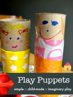 simple puppets for kids to make :: imaginary play :: simple play ideas :: junk models - Crafts Are Fun Crafts For Kids To Make, Kids Crafts, Art For Kids, Arts And Crafts, Happy Mom, Happy Kids, Puppets For Kids, Puppet Crafts, Toilet Paper Roll Crafts