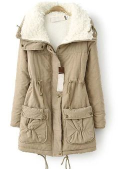 Khaki Plain Drawstring Pockets Thick Cotton Blend Parka