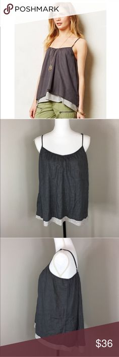 Anthropologie Stark Layered Willow Cami in Gray Anthropologie Stark layered willow Cami in gray. Size large. Approximate measurements flat laid are 24' front length, 28' back length, and 18' bust. Pre-owned condition with no major flaws. ❌I do not Trade 🙅🏻 Or model💲 Posh Transactions ONLY Anthropologie Tops Tank Tops