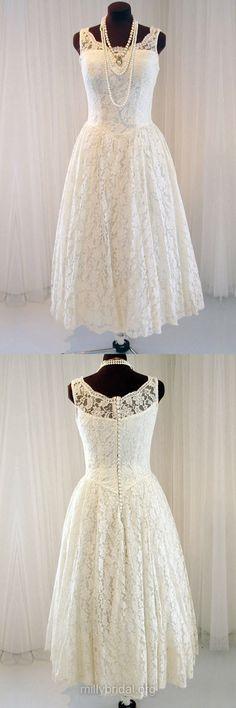 Classic Ivory Lace Wedding Dresses,Scoop Neck Tea-length Bridal Gowns,Buttons Women Wedding Dress