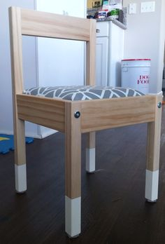 Easy DIY 1 Hour IKEA Latt Table Hack - love these adorable seat cushions! Totally doing this!