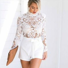 Brulee White Lace Romper