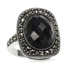 Sterling Silver 7.22ct Dyed Blue Corundum and Marcasite Ring (Size 10) ($39) ❤ liked on Polyvore featuring jewelry, rings, black, vintage rings, vintage jewelry, vintage sterling silver jewelry, vintage sterling silver rings and sterling silver marcasite ring