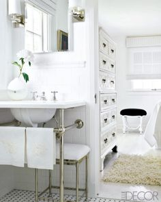 classic, traditional bath.  vintage sink, marble basketweave flooring, and crisp white | ted tuttle