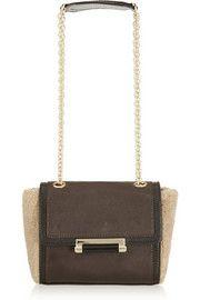 Diane von FurstenbergShearling-paneled leather shoulder bag
