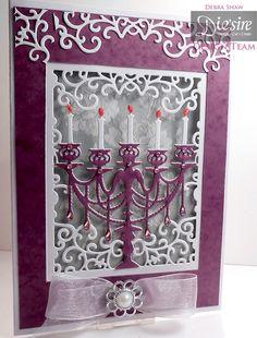 US Create a card Grand Candelabra Die, White Linen card, Tacky glue, Collall all purpose, Gems,  Purple card, Ribbon Pearl trim designed by Debra Shaw