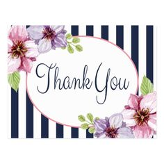 business thank you cards Floral Watercolor Thank You Purple Flower Postcard