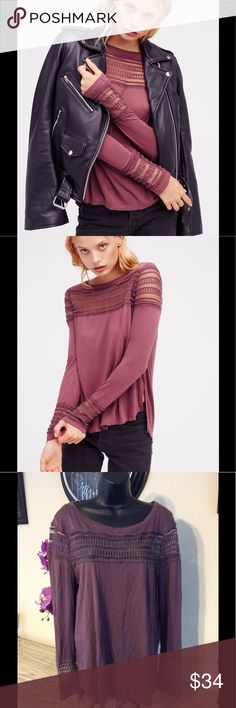 "🆕 Free People Plum Top Gorgeous Top for any occasion! No stains or rips. 21"" from armpit to armpit and 26"" long. Fits size 5/6-10 Free People Tops Blouses"