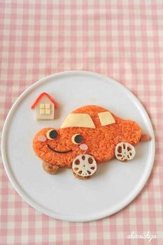 Kids Meal Idea: Rice Cake Vehicle (Tomato Ketchup, Cheese, Ham, Japanese Nori Seaweed, Meatball and Lotus Root)