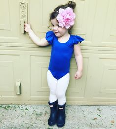 Momfessionals: Rainy Day Baby Ballerina /  Royal Blue Ruffle Leotard by The Leotard Boutique, leotardboutique.com