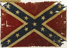 """The Confederate Battle Flag of the 31st Tennessee Volunteers, ""The Western Stars"". A Confederate battle flag that was never surrendered or captured is a rare find indeed. This flag is just such a rarity. An Army of Tennessee pattern, it was probably delivered to Company A of the 31st Tennessee Infantry when the regiment wintered in Dalton, Georgia from 1863 to 1864 since this pattern is known to have been issued at the Dalton Depot."""