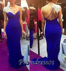 #promdress01 prom dresses - 2015 elegant one shoulder navy blue chiffon long train prom dress for teens, ball gown, evening dress #prom2015 #coniefox #2016prom