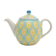 Bali Ikkat Teapot in Mint and Yellow