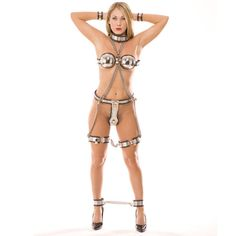 Rapture Stainless Steel Female Bondage Suite, $800.00 An extremely unique piece of wearing apparel to enhance a females form. Just risky enough to be sensual & erotic without being inappropriate revealing. This is a multi-part suit that includes; a Collar, Wrist Cuffs, Ankle Shackles Bra, Chastity belt with Shield & thigh bands. All made of polished Stainless steel with soft rubber backing & edging on each piece.(http://www.dallasnovelty.com/rapture-stainless-steel-female-bondage-suite/)