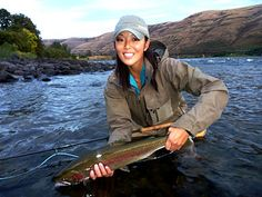 Lisa Rice and her nice Rainbow Trout
