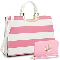 43d37fec67 Dasein Women s Handbag PU leather Top Handle Briefcase with Matching Wallet  (White Pink)