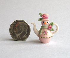 Handmade Miniature SHABBY ROSE SNOWMAN TEAPOT - by C. Rohal #CRohal