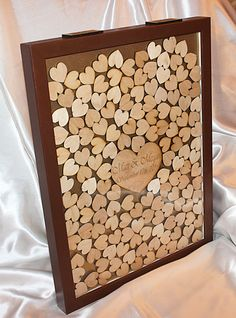 Wedding Guest Book Alternative White Drop Top Guestbook Heart Box Ornate Wood Frame Pinterest