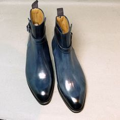French Ready To Wear shoes | Septieme Largeur's Jodpur boot with blue patina