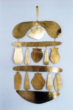Beaker Wall Hanging - shapes inspired by ancient vessels & beakers. Debbie Powell 2013 could use cut up plastic lids or aluminum plates from takeout-h Mobiles, Sculpture Art, Sculptures, Art Design, Art Object, Metal Jewelry, Wind Chimes, Street Art, Pottery