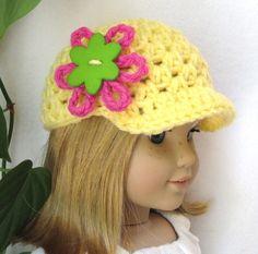 Crochet beanie with spring flower