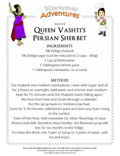 Bible Recipes for Kids: Queen Vashti's Persian Sherbet Bible Food, Lds Primary Lessons, Bible Activities, Jewish Recipes, Summer Drinks, Kids Meals, Cool Kids, Persian, Queen Esther