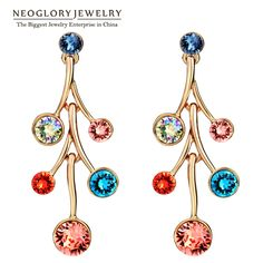 Rose Gold Plated Auden Rhinestone Chandelier Colorful Charm Drop Earrings for Women Fashion Jewelry  New Brand Gift