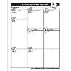 Fichiers PDF téléchargeables En noir et blanc seulement 2 modèles: Avec ou sans lignes  Utilisez cette feuille pour planifier vos activités de la semaine en fonction de votre thème. Amelie Pepin, Daycare Crafts, Teaching French, Happy Birthday Me, Blog Tips, School Supplies, Kids Learning, Classroom, How To Plan