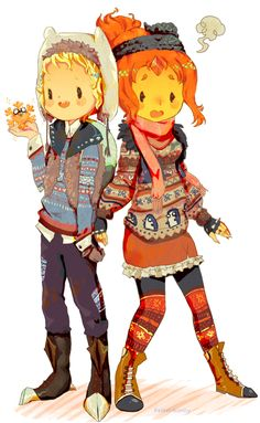 Winter Finn and Flame Princess adventure time