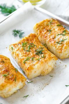 Succulent and flavorful this delicious baked halibut is seasoned with lemon garlic Dijon and dill it s the main attraction in the perfect healthy meal Easy Appetizer Recipes, Gourmet Recipes, Cooking Recipes, Healthy Recipes, Recipes Dinner, Healthy Fish Recipes, Healthy Meals, Healthy Cooking, Meat Recipes