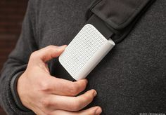 The BlackBerry Mini Stereo Speaker doesn't look like your average Bluetooth wireless speaker. Crafted in the shape of a U, this tiny Bluetooth smartphone accessory can be pinned to shirts, bag straps, and other articles of clothing so you can enjoy phone audio out loud and with your hands free. The gadget also functions as a speakerphone for hands-free calls.