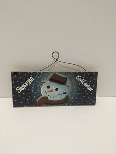 Snowman Collector Hand Painted Wall Plaque Winter Christmas | eBay