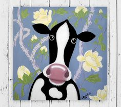 Peony Pattern Cow Painting by Wayne Dowden.