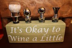 Hand made in USA - wine stopper holders in a variety of colors and clever sayings. Beer Cap Crafts, Wine Cork Crafts, Wine Bottle Crafts, Vintage Door Knobs, Clever Sayings, Cork Boards, Wine Craft, Candle Accessories, Beer Caps