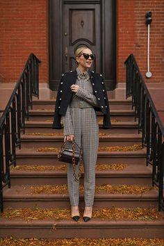 Blair Eadie wearing an Emilia Wickstead belted plaid jumpsuit, chanel pin, and b. Stylish Winter Outfits, Chic Outfits, Fall Outfits, Fashion Outfits, Womens Fashion, Simple Outfits, Estilo Fashion, Look Fashion, Ideias Fashion