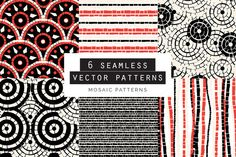 Mosaic Seamless Patterns Set of 6 Graphics **What you get:**- A Vector EPS format file with 6 seamless patterns. - A Vector AI format file wi by Youandigraphics Mosaic Patterns, Embroidery Patterns, Quilt Patterns, Knitting Patterns, Sewing Patterns, Vector Pattern, Pattern Art, Pattern Design, Graphic Patterns