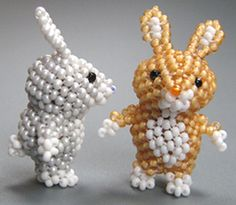 3D Bunny Bead Pattern. The 6th design in a series of cute peyote pets.   A sculptural peyote rabbit. It is constructed over two big round beads - similar to the way beaded beads are made.   Very steady on its feet.   The instructions are step-by-step, detailed, and easy to understand.   A 3D bunny is good for:  - standing on a desk or shelf  - giving to a child  - wearing as a charm or pendant (with a loop on top)  - carrying around in your pocket  - Easter time