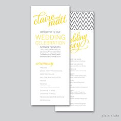Caligraphy - Wedding Program - Printable DIY