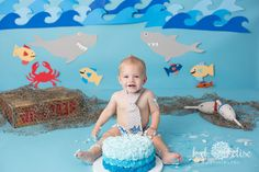 Shark themed first birthday cake smash from K.D. Elise Photography.