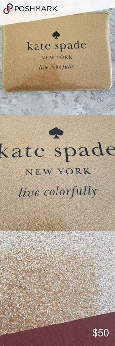 "kate spade brand new glitter pouch Brand new with tags! Kate Spade gold glitter pouch. Can be used as a clutch, makeup case, travel case, just about anything you want.  Dimensions are approximately 12"" x 10"" kate spade Bags Clutches & Wristlets"