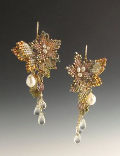 Peyote Stitched Butterfly Bloom Drop Earrings
