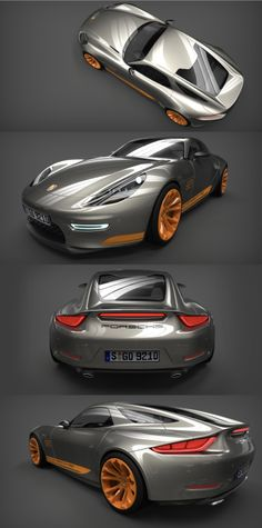 Behold the streamlined body of the Porsche 921 Vision Concept, brainchild of French CGI-wizard Anthony Colard. His digital model is designed to have a front V8 engine, and intended as a replacement for the iconic yet ageing 911.