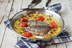 Chickpeas and bream fish fillets gratin. Gratin di ceci e filetti di orata - L'Appetito Vien Leggendo.