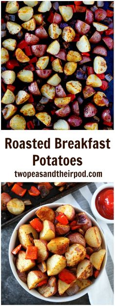 Roasted Breakfast Potatoes Recipe on twopeasandtheirpod.com These oven roasted breakfast potatoes are the BEST and so easy to make. They are great for breakfast or with any meal!