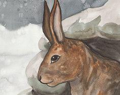 Original Art - le roi des lapins - aquarelle lapin peinture - le Tarot de la forêt de blaireaux