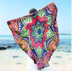 """57"""" Patterned Round Beach Throw"""